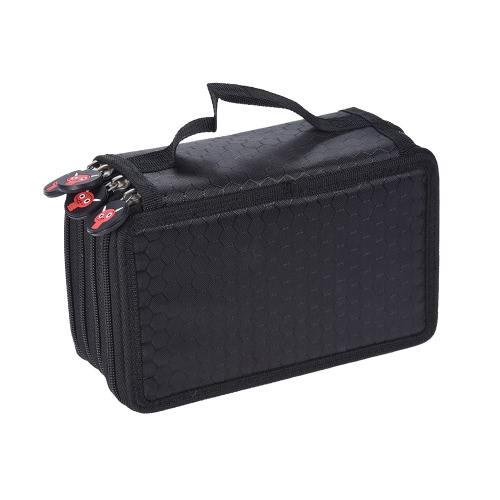 Multifuncional Pintura de Grande Capacidade Cosmetic Pencil Pen Escova Caso Bag Box 4 camadas Zipper 72 titulares com pega