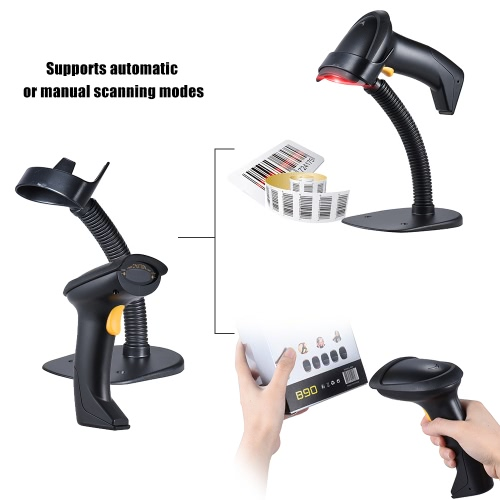 Automatic/ Manual 2.4G Wireless Handheld 1D Barcode Scanner Reader Supports Reverse Type Bar Code Scanning with USB Receiver Adjustable Stand for Supermarket Library Logistics Express Retail Store Warehouse