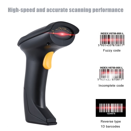 Automatic/ Manual 2.4G Wireless Handheld 1D Barcode Scanner Reader Supports Reverse Type Bar Code Scanning with USB Receiver for Supermarket Library Logistics Express Retail Store Warehouse