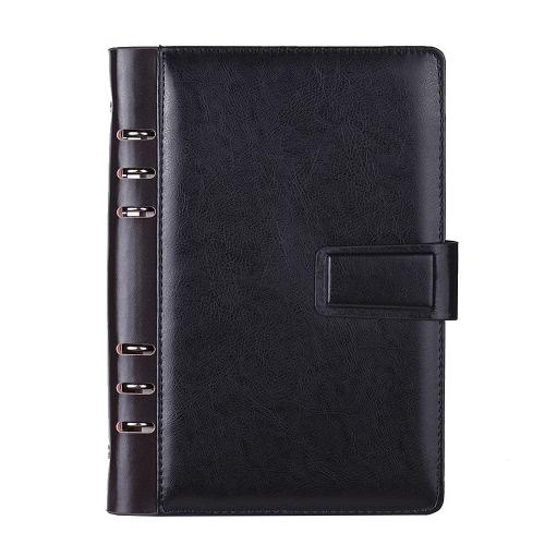 A5 PU Spiralny Spiral Notebook Spiral Business Planner Agregat Mleczarski Vintage Papiernicze Biuro z kartą Czapka na zdjęcia Stojak na pióro Magnetyczne pudełko na prezent bez długopisu