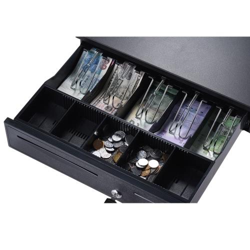 Heavy Duty Electronic Cash Box szuflady walizce 5 Bill 5 monet tace Sprawdź Wsparcia Wejście Auto Otwórz podręcznik RJ11 key-lock do Epson Gwiazda POS drukarki Pieniądze rejestracji - Coin Tray Regulowany Ruchoma