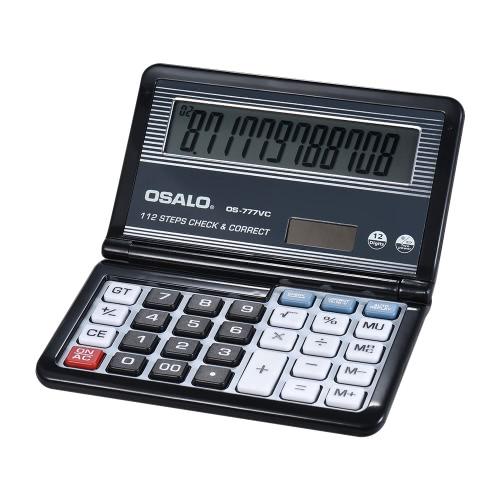 Folding Desktop Kalkulator elektroniczny 12 cyfr 112 kroków Sprawdź i popraw baterię i energię słoneczną Podwójny zasilany większym wyświetlaczem dla domowej szkoły Student Business Calculating