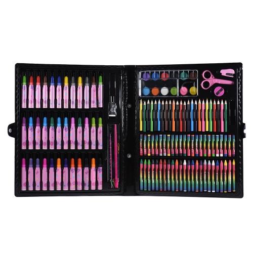 Conjunto de arte de luxo 148pcs para crianças com marcadores coloridos para casos Lápis de cor Pratos para aquarelas para crianças Peças de pintura para crianças