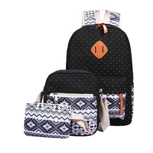 Três peças de Leisure Students Backpack Moda National Style Double Shoulder Bag