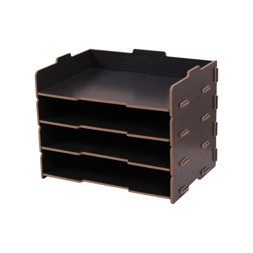 Wood Desk File Organizer Doent Holder Letter Tray 4 Layers For Office School Home Use