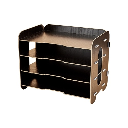 Creative Desktop File Organizer Wood Document Holder Letter Tray 4 Layers for Office School Home Use