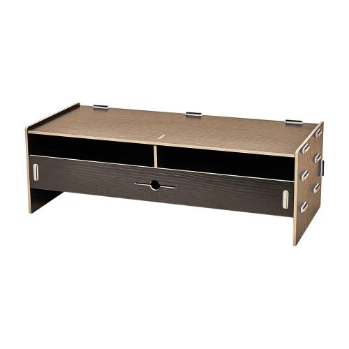 Computer Monitor Stand Riser Wood Desktop Organizer with Stationery Keyboard Storage Slots Drawer Office School Supplies