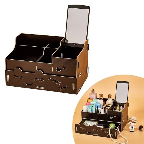 Holz Makeup Organizer Fall mit Spiegel Desktop Multi Slots Storage Holder für Jewlry Kosmetische Supplies