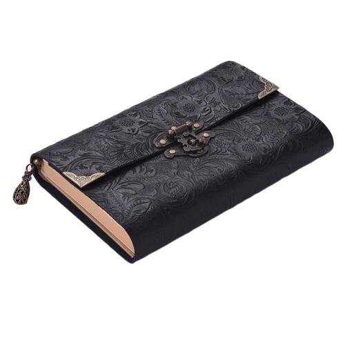 Quaderno da viaggio con diario in morbida pelle con motivo goffrato fatto a mano con lucchetto e diario chiave Blocco note in carta kraft