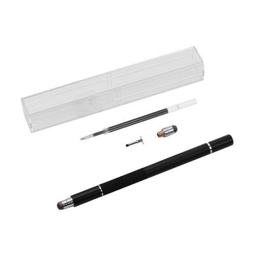 3 in 1 Präzisions-Stylus-Stift mit Nachfüll- und Disc-Spitze und Faserspitze Kapazitiver Touchscreen-Stylus-Stift für Handy-Tablet Schwarz