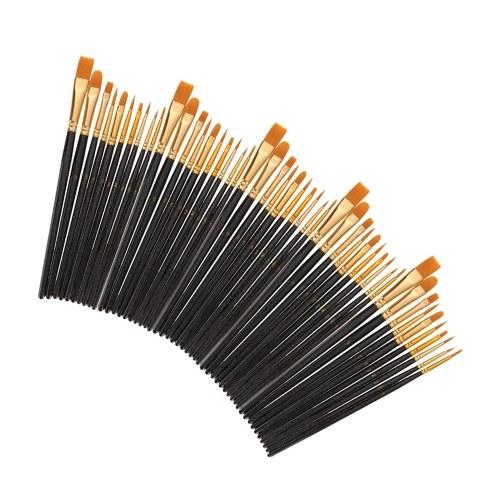 50 PCS Nylon Hair Paint Brushes Set