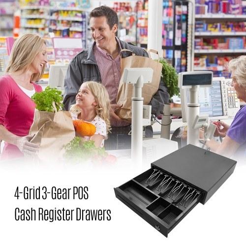 TOMTOP / Heavy Duty Cash Drawer Four-Grid Three-Gear POS Cash