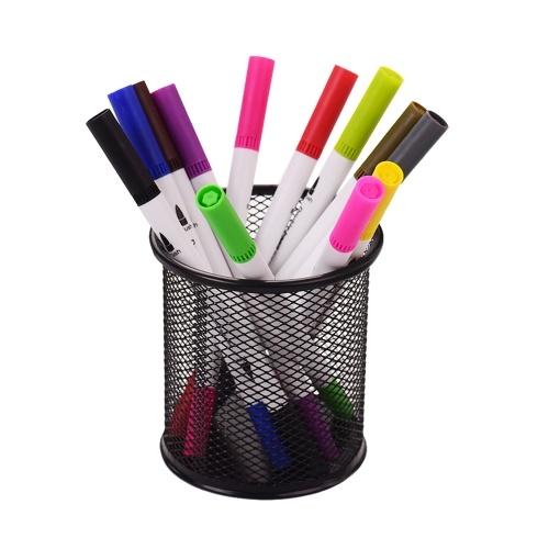 Mesh Pen Bleistifthalter Metal Pen Organizer Aufbewahrungsbriefpapier Container Runde gepolsterte Basis für Schreibtisch Schulbüro