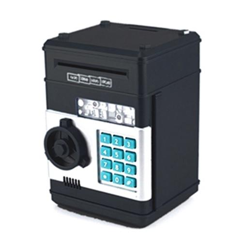 Automatic Roll Mini Paper Money Storage Machine Lock Password Coin Cash Box (Black)