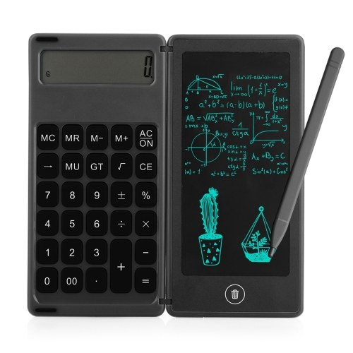Calcolatrice pieghevole e tavoletta da scrittura LCD da 6 pollici Blocco da disegno digitale Display a 12 cifre con penna stilo Funzione di blocco del pulsante di cancellazione per bambini Adulti Home Office Uso scolastico