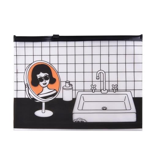 Saco de lápis transparente de grande capacidade Envelop Saco de cosméticos PVC para estudantes Meninas Women School Stationery