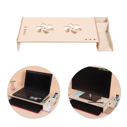 Immagine di Organizzatore da scrivania per computer portatile con mensola per computer portatile con supporto per computer in legno con altezza regolabile per la scrivania