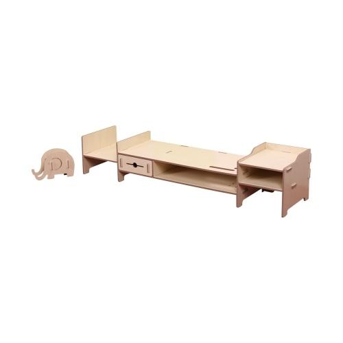 Diy Storage Shelf Monitor Stand Riser File Organizer Stationery Holder Office Desk Wood