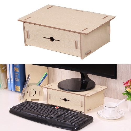 Small Desk Monitor Riser Stand Organizer Wood With Pen Holder Drawer For School Office Home Stationery