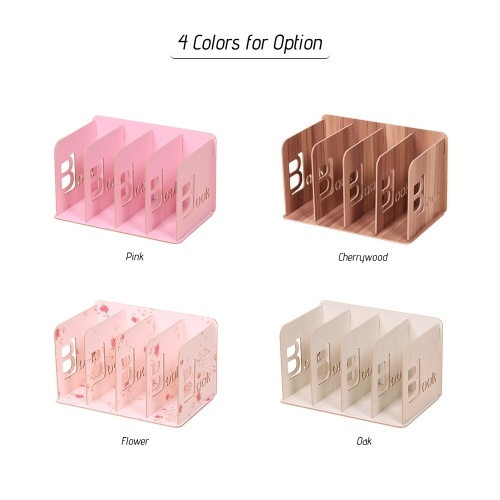 Desk File Rack Book Sorter Organizer Holder Wood with 4 Compartments for Students School Office Home