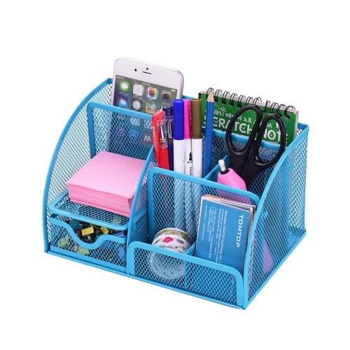 7 Storage Compartments Multi-functional Mesh Desk Organizer Pen Holder