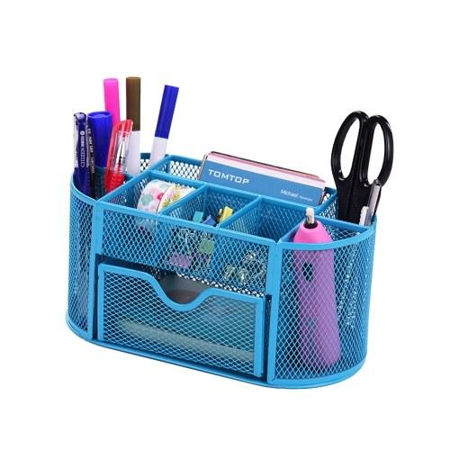 9 scomparti portaoggetti porta penne da scrivania multifunzione in mesh