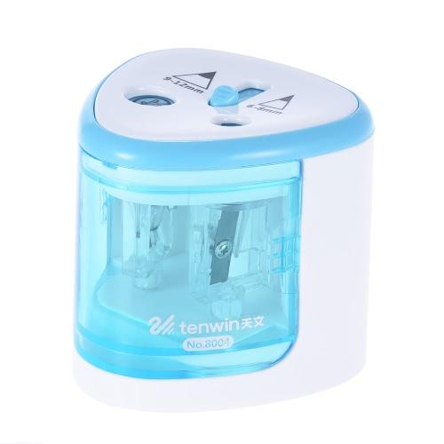 Wielofunkcyjny automatyczny elektryczny Temperówka na baterie z 2 otworami (6-8mm / 9-12mm) dla domu School Student niebieski