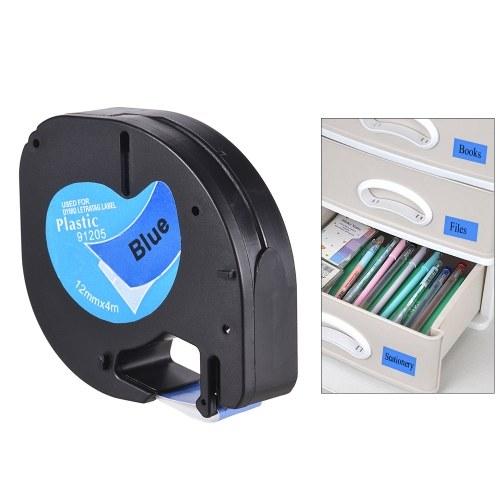 Etikettierband 91202 Kunststoff-selbstklebende Nachfüllungen Schwarz Druck auf Weiß 1/2 Zoll * 13 Fuß 12mm * 4m für DYMO LT-100H Etikettendrucker, 1 Rolle
