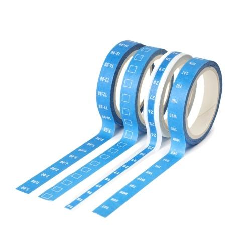 4 rotoli / set 8mm * 5m Nastri autoadesivi Data Settimana Ora Griglia Nastri di carta Washi Cancelleria decorativa Nastro adesivo Planner Adesivo