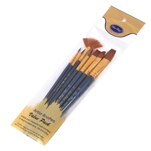 7pcs/set Art Paint Brushes Set Round & Flat & Filbert & Fan Tips Professional Drawing Paintbrushes Nylon Hair Wooden Handle for Watercolor Acrylic Oil Gouache Face Body Painting for Artists Adults Students Beginners