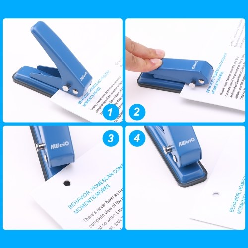 KW-trio Mini Metal Single Hole Punch 1-Hole Paper Puncher 20 Sheet Capacity 6mm Holes Reduced Effort with Scraps Collector for Office School Home Supplies