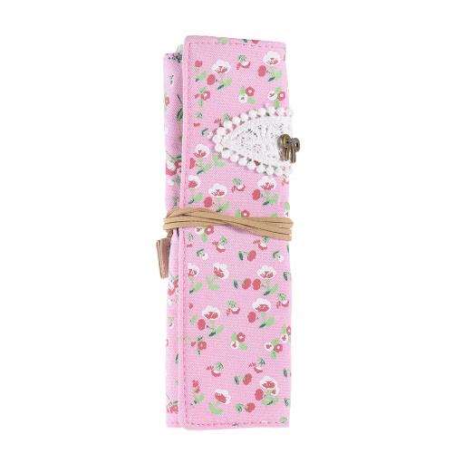Flower Pattern Canvas Roll Up escovas cosméticas da composição Pen saco caso do lápis bolsa de papelaria presente para as meninas Estudantes