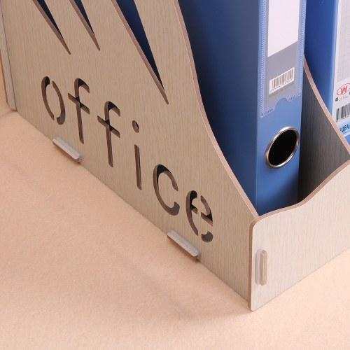 Wood Desktop File Organizer Document Folder Holder 3 Upright Sections for Office School Students