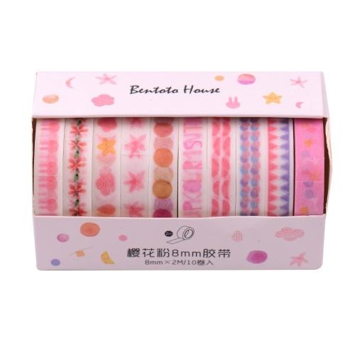 Washi Japanische Papierbänder Scrapbooking Tape Rolls Schönes Design 10 Stück / Set
