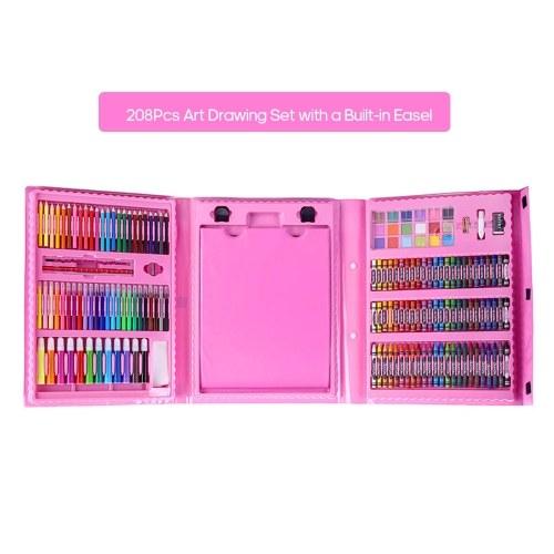 H&B 208pcs Art Drawing Set Herramientas de pintura para niños Bolígrafos de acuarela / Crayones / Pasteles al óleo / Lápices de colores y más Artículos de papelería para estudiantes Regalos para niños