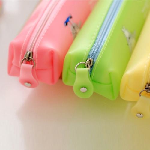 Cute Padrão Jelly macia impermeável Pen Pencil Caso Zipper papelaria Cat Bag bonito para estudantes School Girls