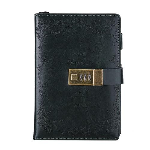 PU bloqueio de senha Notebook Secretário diário Diário Sketchbook agenda diária Agenda Notepad escritório estacionário vintage Stamping Rose dom (só o notebook está incluído)