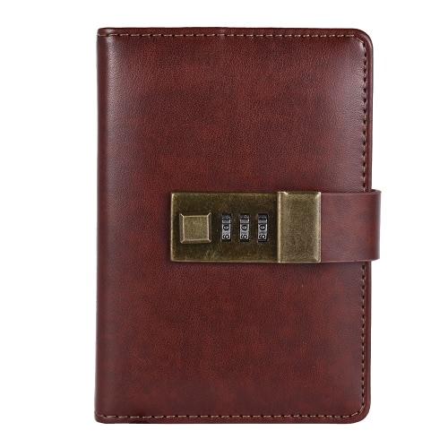 Quaderni tascabili vintage A7 con copertura in pelle PU con password di blocco in metallo