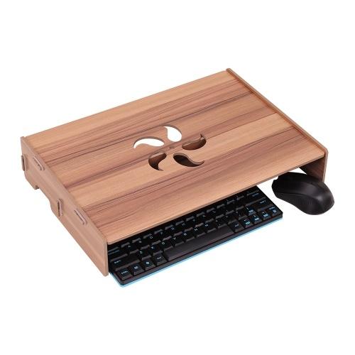 Immagine di Organizzatore da tavolo per computer portatile con supporto per computer portatile in legno per computer con slot tastiera per ufficio scolastico
