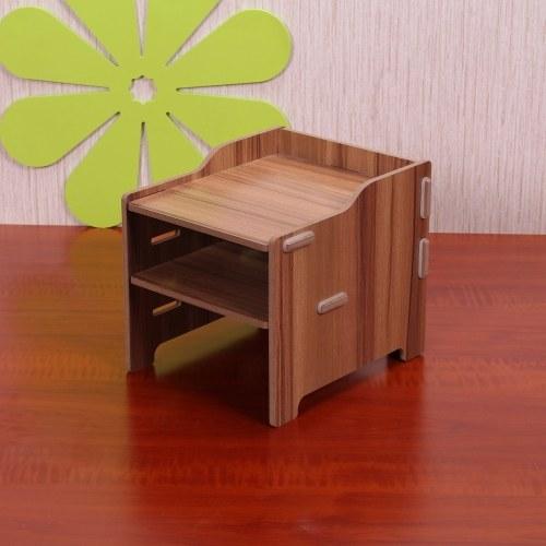 DIY Storage Shelf Monitor Stand Riser File Organizer Stationery Holder Office Desk Organizer Wood