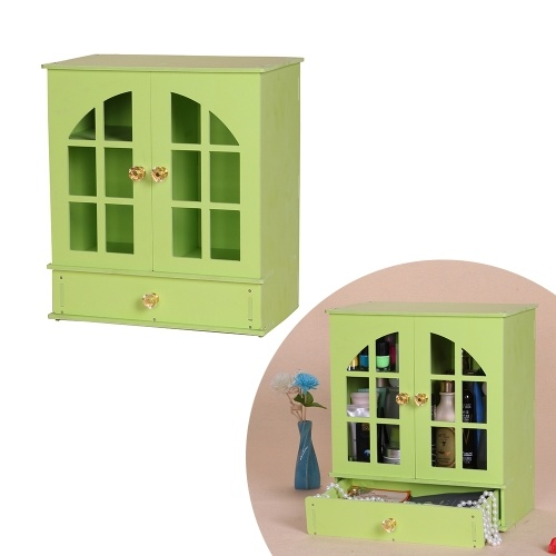 Деревянный макияж Органайзер Корпус Шкаф для настольных ПК Косметический держатель Лоток Шкаф для шкафа Jewlry Storage Box Container