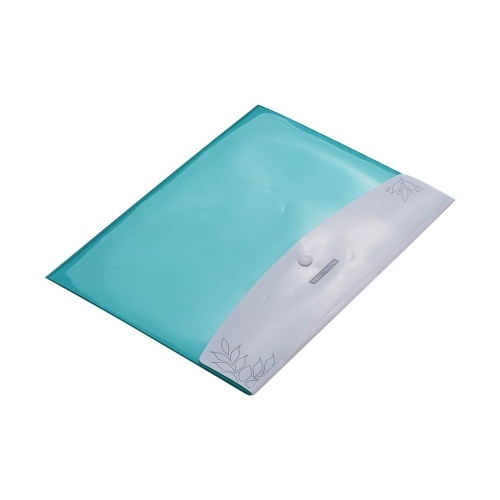 Double Pockets PlasFtic File Envelope Waterproof Document Holder Portfolio with Snap Button Closure