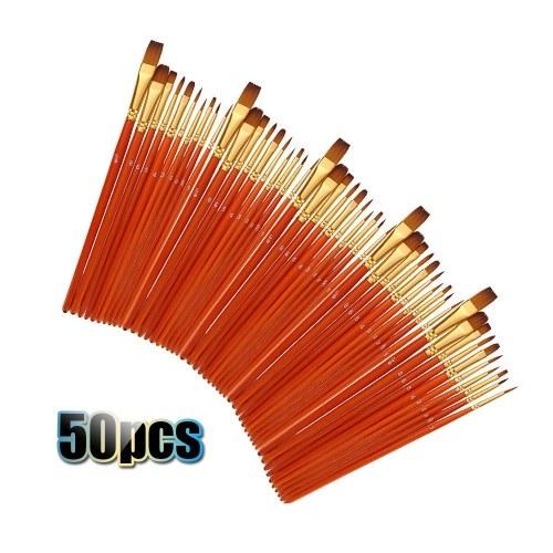 Set de 50 brochas de pintura de pelo de nylon PCS