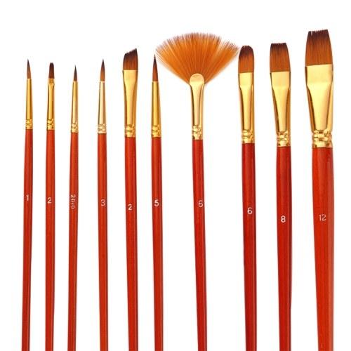 Set di 10 pennelli Set di pennelli per artisti Pennelli per più pennelli con capelli di nylon per artista Acrilico Aquarelle Acquarello Gouache Pittura ad olio per grandi disegni di arte
