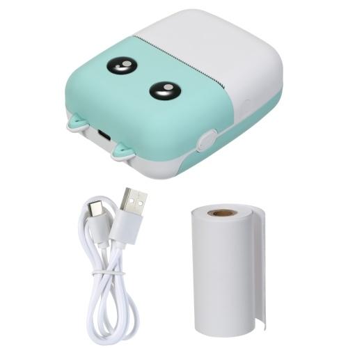 Aibecy Mini Pocket Thermodrucker 58mm Wireless BT Drucker 300dpi mit 1 Rolle Thermopapier zum Drucken von Foto Memo Etikettenliste Journal Planner Cpmpatible mit Android iOS Smartphone