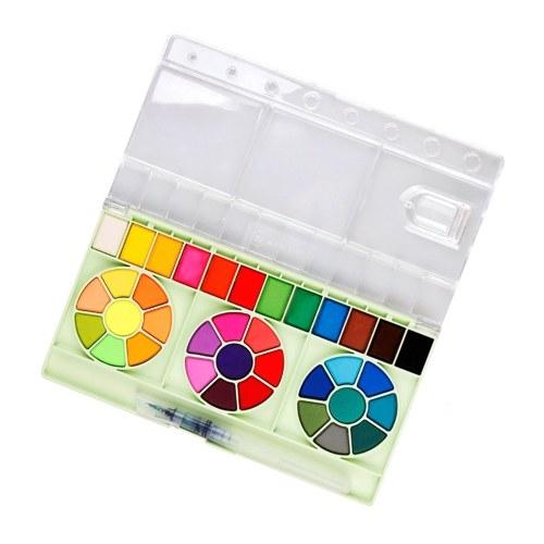 Ensemble de peinture de dessin portable de pigment de peinture d'aquarelle solide de 36 couleurs
