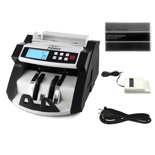 Aibecy Automatic Multi-Currency Cash Banknote Money Bill Counter Counting Machine LCD Display with UV MG Counterfeit Detector