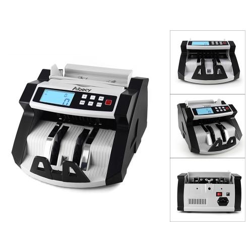 Aibecy Автоматическая многовалютная наличная банкнота Деньги Счетчик счетчиков Счетчик ЖК-дисплей с УФ-MG Поддельный детектор