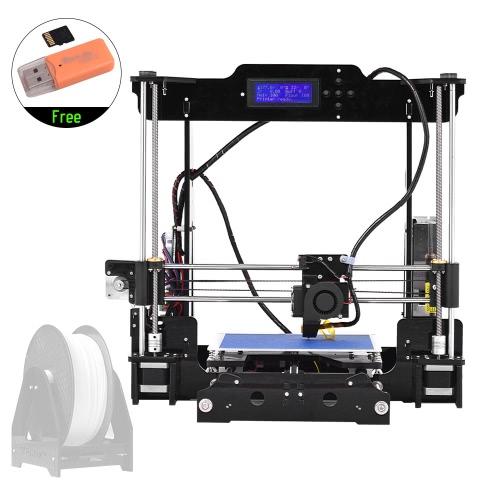High Precision Desktop 3D Kits de Impressora DIY Self Assembly Moldura acrílica Reprap Prusa i3 com TF Card Max. Tamanho da impressão 220 * 220 * 240mm Suporte ABS / PLA / TPU / Filamento de madeira