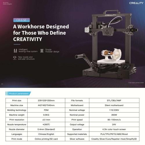 Original Creality 3D CR-6 SE Upgraded High Precision 3D Printer DIY Kit